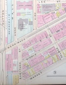 1896 map showing the location and surroundings of Huntington Hall