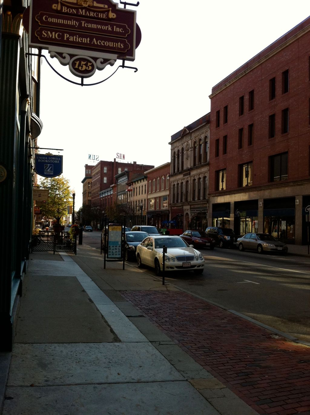 Merrimack Street - Lowell - in Fall 2011.  Pollard's was once housed in the brick building at the immediate right of the photograph.