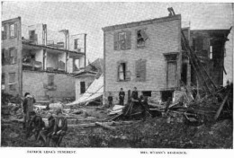 A view of houses on Springfield Street, Lawrence, after the 1890 cyclone.  (Courtesy:  The Illustrated American, 1890)