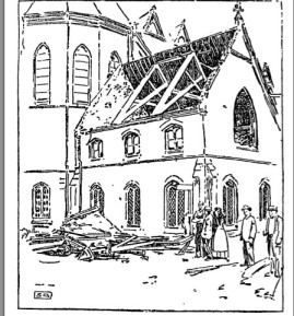 St. Patrick's Church of Lawrence, Massachusetts, after the 1890 Cyclone (From the Boston Globe - July 27, 1890)