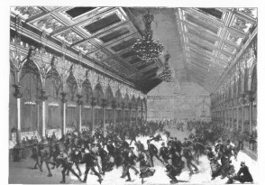 The Interior of a Roller Skating Rink in the 1870s.  (Source:  Scientific American Supplement - February 24, 1877)
