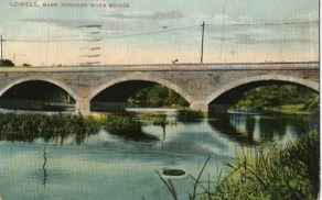 Today's Concord River Bridge on Lowell's Lawrence Street.  (From a mid-century postcard)