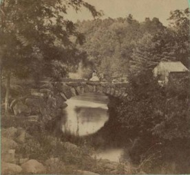 A 19th century view of an earlier Lawrence Street bridge that spanned the Concord River.
