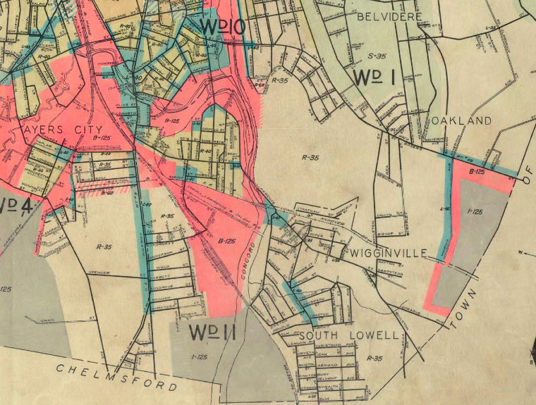 This 1936 map shows several of Lowell's southeastern neighborhoods, including Wigginville.