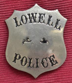 Lowell Police Badge - William G Lee (Photo Credit:  Tony Sampas, LHS Archivist)