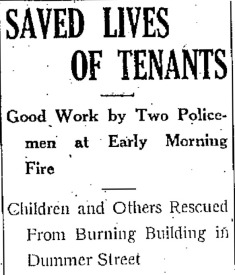 Officers Lee and Liston Save Lives of Dummer Street Tenants (Credit: Lowell Sun - 2/8/1922, Pg. 1)