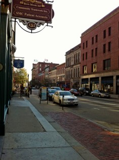 Merrimack Street - Lowell - in Fall 2011. Pollard's was once housed in the brick building at the immediate right of the photograph.  Photo by Author