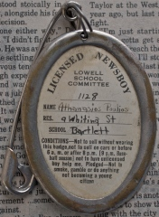 Lowell Licensed Newsboy Badge, ca. 1940. (Photo Credit: Tony Sampas, Archivist, Lowell)