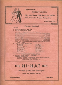 A 1940 advertisement for the Hi Hat, from the Seton Guild Little Show program.  (Courtesy of Brian Leahey, Lowell)