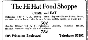 A 1931 Advertisement for the Hi Hat Food Shop