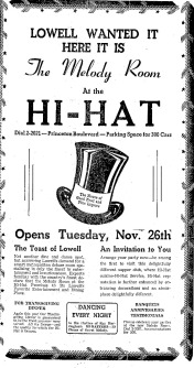 The Hi Hat reopens with its new Melody Room (Credit:  Lowell Sun:  November 25, 1940)