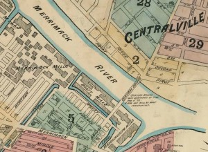 A section of an 1882 atlas showing the vicinity surrounding the Central Bridge, Lowell.