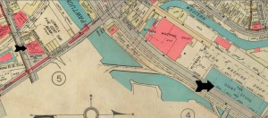 From a 1936 city atlas, the location of the Giant Store is marked with a large black arrow.  The smaller black arrow marks the location of the Wamesit branch of the Union National Bank.