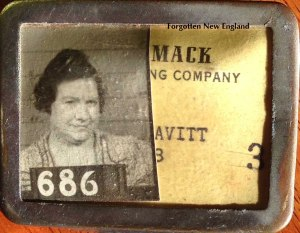 Katie Leavitt's employee badge for the Merrimack Manufacturing Company