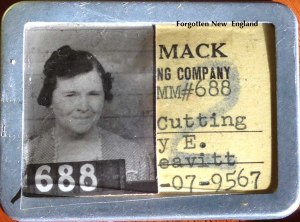 Mary Leavitt's employee badge for the Merrimack Manufacturing Company