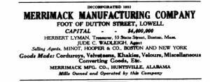 Merrimack Mills advertisement from the Lowell City Directory, 1935