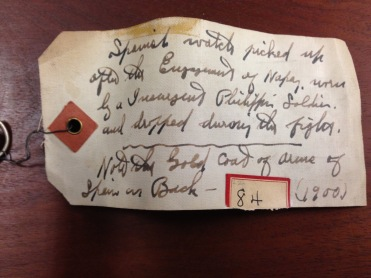The tag attached to the watch, helpfully describing its origins, LHS Collection (Photo by Author)