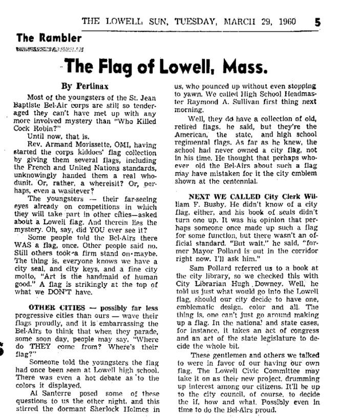 Lowell Sun 1960 Flag