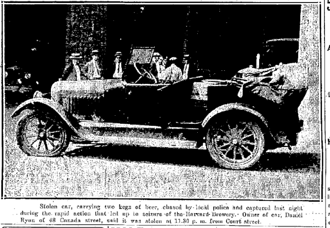 A stolen car used by rum-runners in Lowell (Photo Credit: Lowell Sun, 8/10/25, p.1)