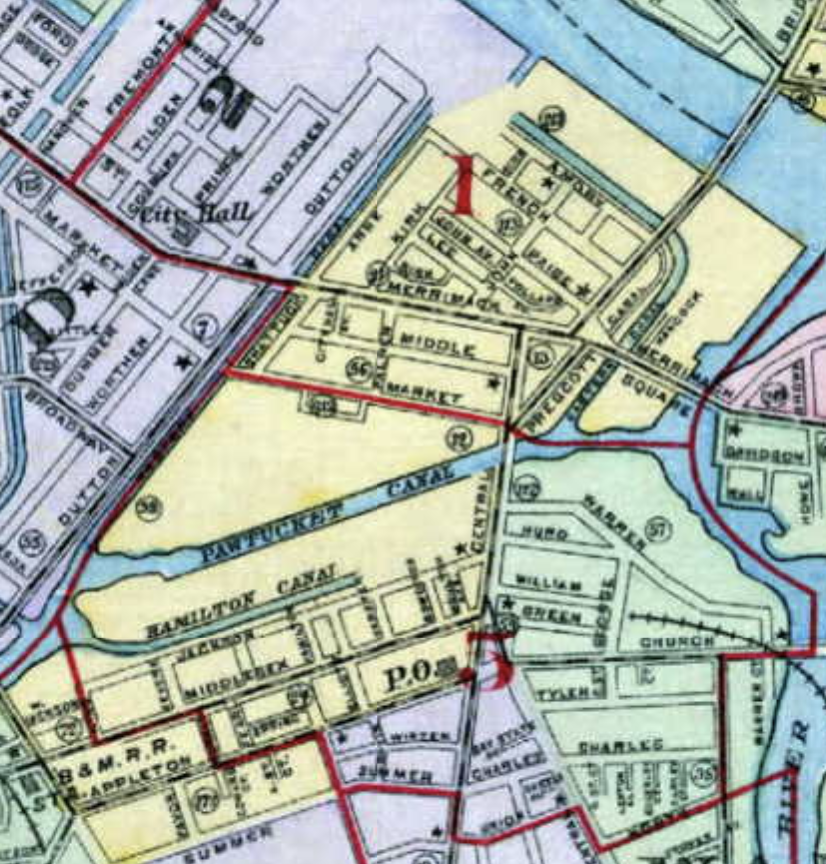 Map of Downtown Lowell Neighborhood