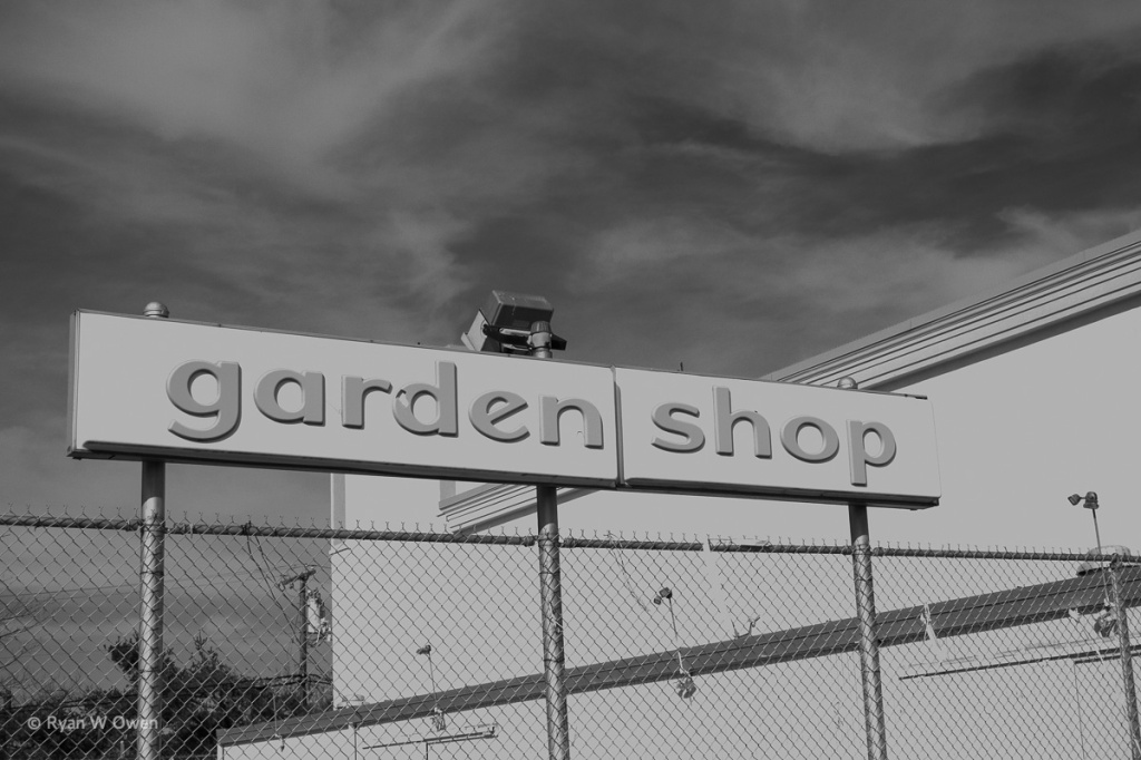 Although the Kmart at the Billerica Mall is gone today, the 1970s-era Garden Shop sign remains.