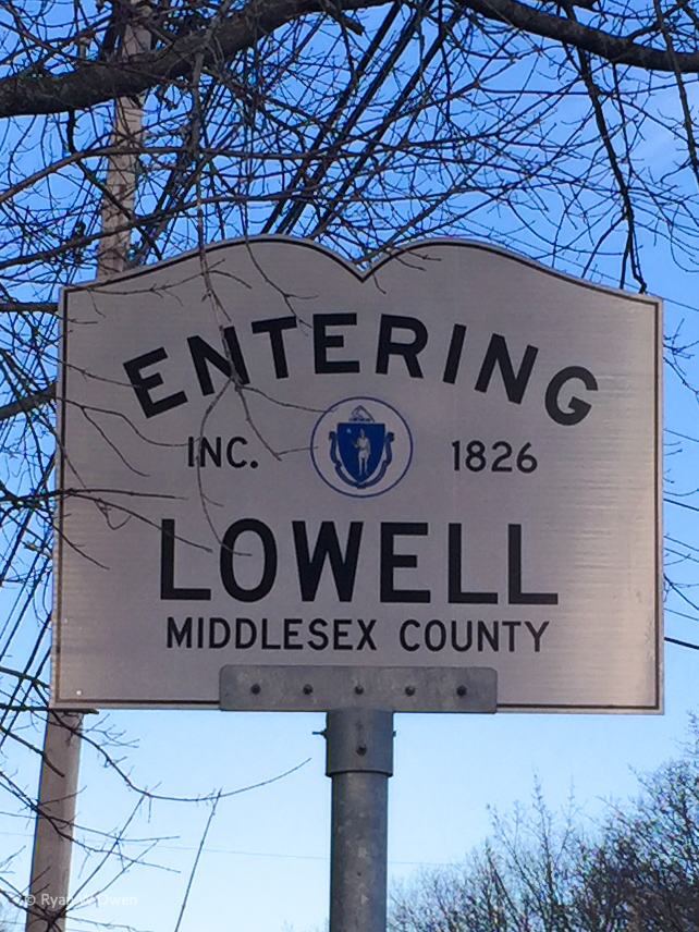 The Entering Lowell sign you see as you cross from Tewksbury to Lowell's Belvidere neighborhood.