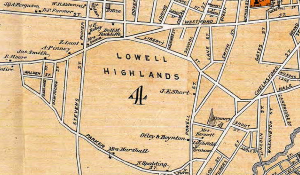 Lowell Neighborhood History - Highlands Map