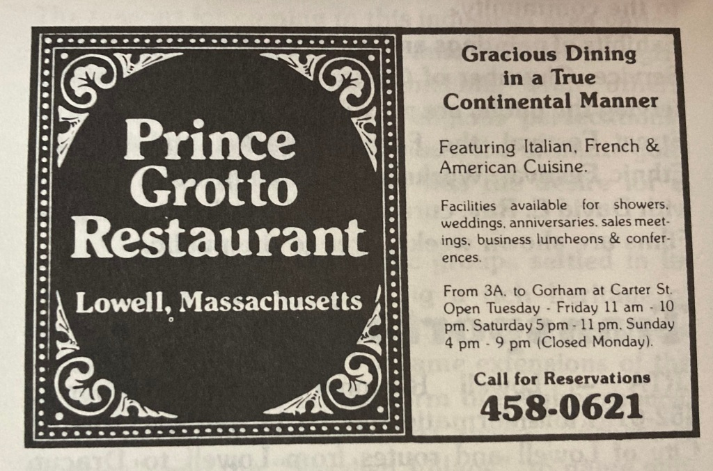 Prince Grotto Ad (Prince Spaghetti Restaurant) Lowell