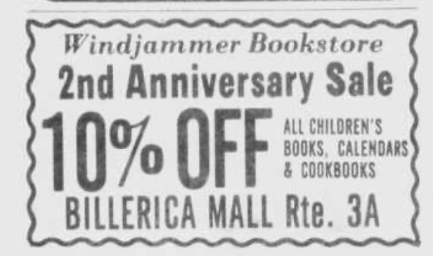 A 1977 ad for Windjammer's Bookstore, eventually replaced by the Billerica Mall's Waldenbooks location.